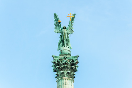 Archangel Gabriel on top of column at Heroes square in Budapest, Hungary