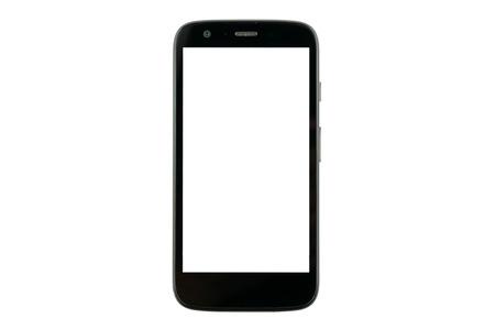 aislado: teléfono inteligente con pantalla en blanco aislado en fondo blanco
