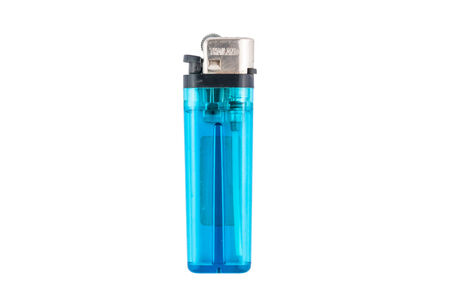 blue lighter isolated on white background photo