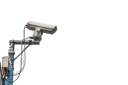 cctv camera isolated on white background photo