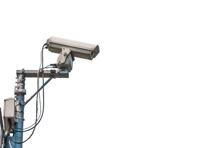 cctv camera isolated on white background photo