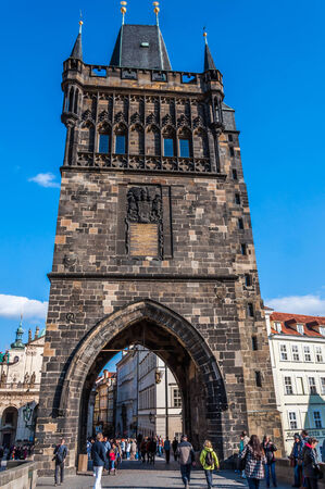 Tourist at Powder Tower in Prague, Czech Republic, October 01, 2013