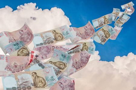 money fly on sky photo