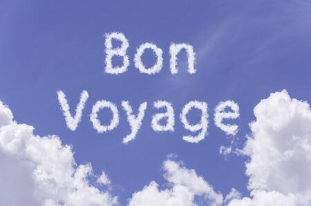 bon: Bon Voyage concept, cloud text on blue sky background  Stock Photo