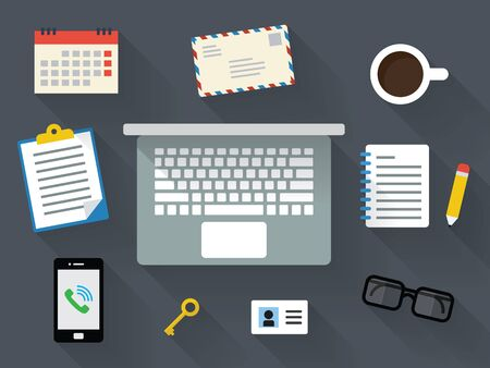 Flat design desk with long shadow Vector