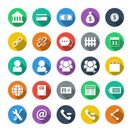 incoming: Business & finance flat design icon set. Illustration eps 10