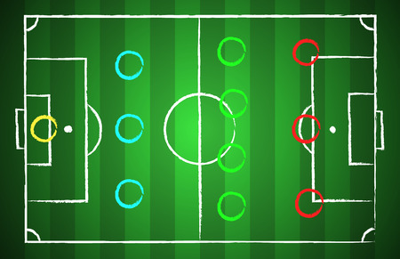 Soccer field chalk drawn style with tactical scheme 3-4-3. illustration eps 10 Ilustração