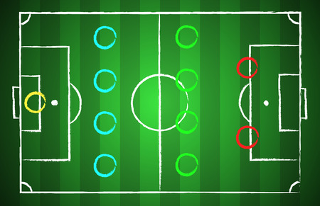 tactical: Soccer field chalk drawn style with tactical scheme 4-4-2. illustration eps 10 Illustration