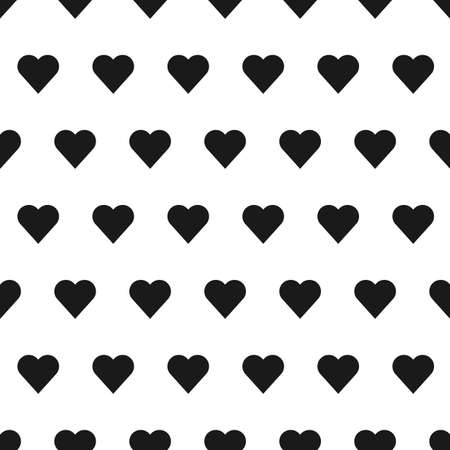 patter: Black seamless heart patter in white background