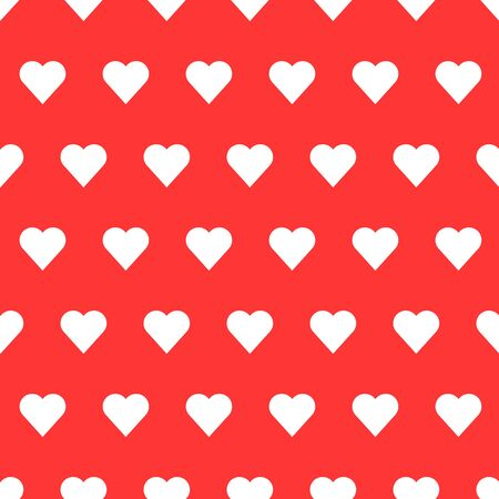 White seamless heart patter in red background