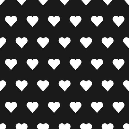 patter: White seamless heart patter in black background Illustration