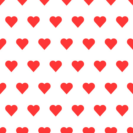 red wallpaper: Red seamless heart patter in white background