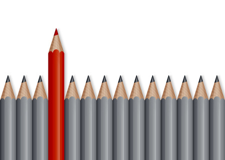 outstanding: Outstanding red pencil among black pencil, business concept for leadership