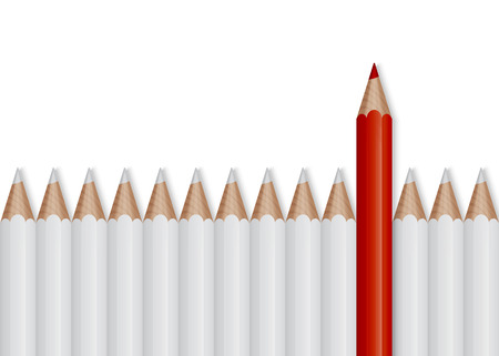 Outstanding red pencil among white pencils, business concept for leadership Illustration