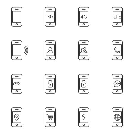 phone line: smart phone line icon