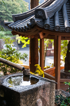 Traditional Japanese bamboo fountain.
