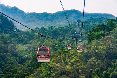 Taipei, Taiwan - April 30, 2016: Maokong Gondola. Opened on 4 July 2007, the Maokong Gondola operates between Taipei Zoo and Maokong.