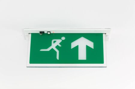 Exit sign against white background.