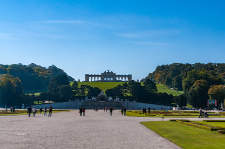VIENNA, AUSTRIA - OCTOBER 08, 2013: People at Schonbrunn Palace in Vienna, Schonbrunn Palace is a former imperial summer residence located in Vienna, Austria Editorial
