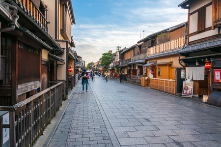KYOTO, JAPAN - OCTOBER 27, 2015: People walking around at Gion district. Gion is Kyotos most famous geisha district, located in Kyoto, Japan.