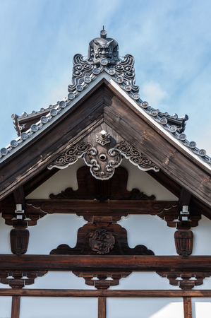Close up view of roof gable of Tenryuji Temple, Arashiyama, Kyoto.