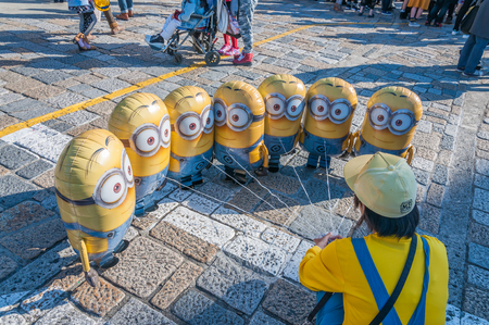 OSAKA, JAPAN - OCTOBER 26, 2015: Minion balloon at Universal Studios Japan. Universal Studios Japan, located in Osaka, is one of four Universal Studios theme parks.
