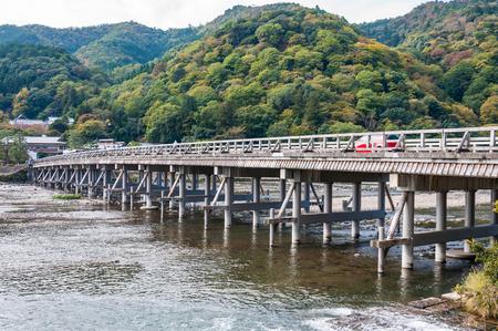 View on Togetsukyo Bridge, Arashiyama, Kyoto, Japan.