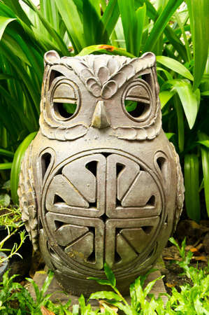 clay owl in the garden