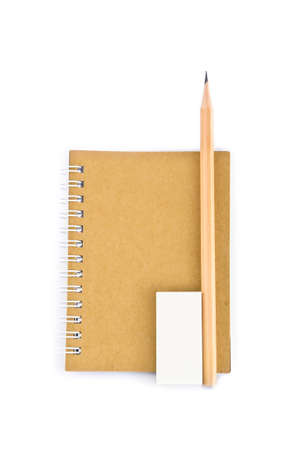 a set of recycle stationary, consisting of notebook, pencil, rubber Stock Photo