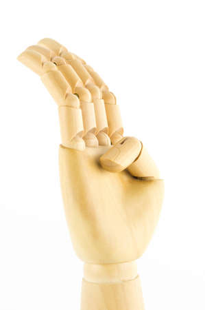 wooden hand: number four, hand gesture of thai dance Stock Photo