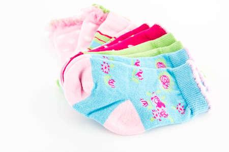 set of baby colorful socks Stock Photo