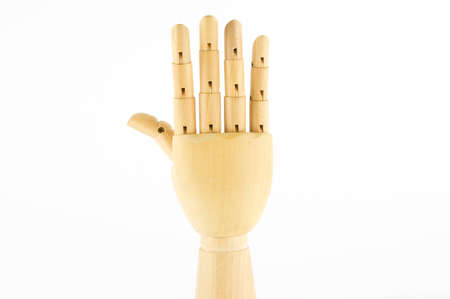 wooden hand: five fingers, hand up, back hand