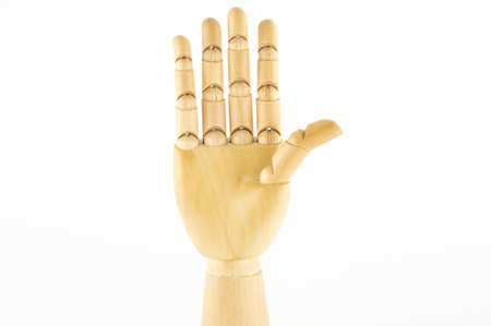 wooden hand: five fingers, hand up, fore hand Stock Photo