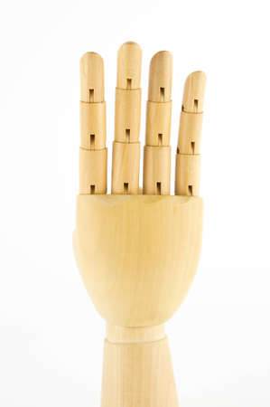 wooden hand: four fingers Stock Photo