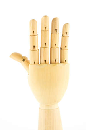 wooden hand: five fingers Stock Photo