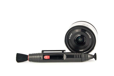 lens pen for cleaning your lens, with 16mm f2.8 E-mount lens