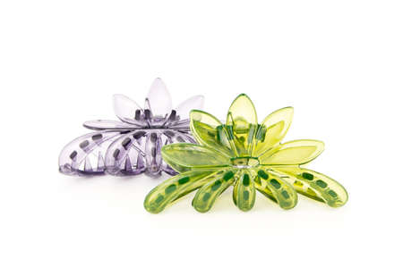 green and purple hairpin isolated on white