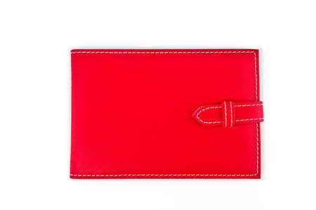 red leather wallet or purse isolated on white