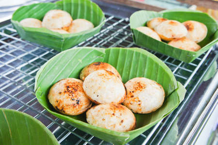 thai traditional coconut milk dessert on banana leaf Stock Photo