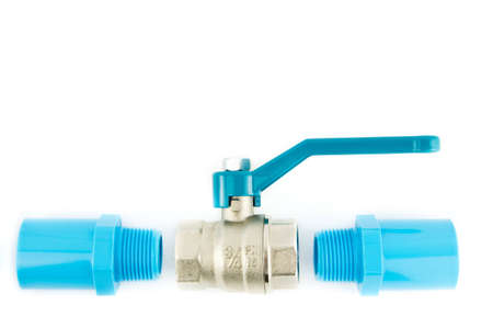 blue pvc pipe connection with valve isolated on white