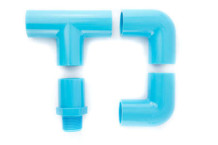 blue pvc pipe connection isolated on white