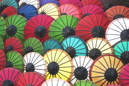color photo: colorful of handmade umbrella, tone color photo and selective focus