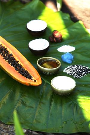 papaya flower: Ingredients for thai massage and spa