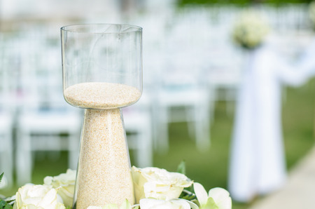 cele: Sand and bottle to used for wedding ceremonies, close up object and blur background