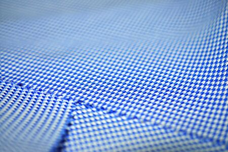 objec: close up texture arrow pattern fabric blue and white of shirt, photo shoot by depth of field for objec