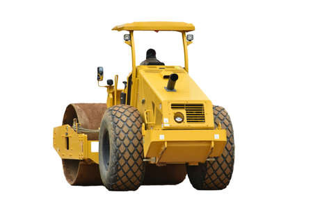 Soil Compactor machine isolated on white background.