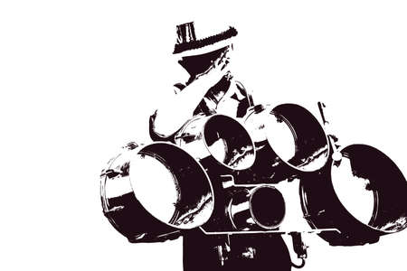 Silhouette of snare drummer in tired motion of marching band isolated on white background. 版權商用圖片