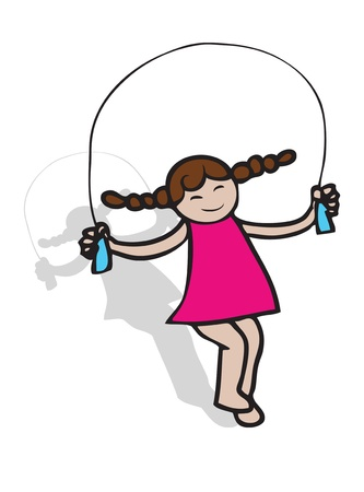 A girl dress pink jumping with rope  photo