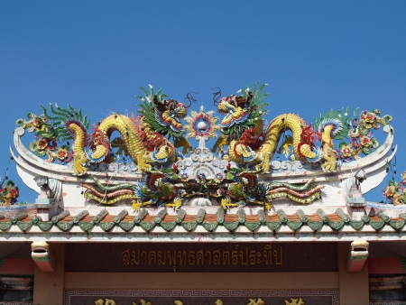 Dragon Chinese style temple roof decoration photo