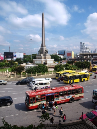 BANGKOK, THAILAND. SEP 22 : Unidentified Thai People traveling by bus on Sep 22, 2012 at Victory Monument, Bangkok, Thailand.